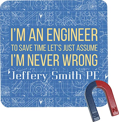 com engineer quotes square fridge magnet personalized
