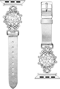 Secbolt Bling Flower Band Compatible with Apple Watch Bands 38mm 40mm iWatch Series 6/SE/5/4/3/2/1,Top Grain Leather with Rhinestones Wristband Strap Jewelry Accessories for Women (Silver, Small)