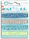 Toga RU90 Lot de 4 Ficelles Bicolores Baker's Twine Bleu/Vert 500 x 0,1 x 0,1 cm