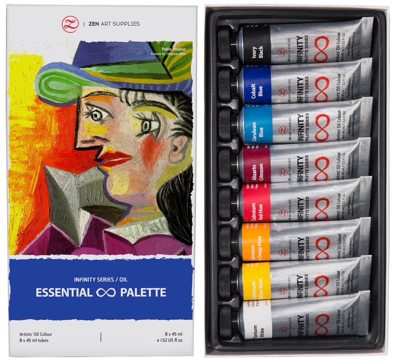 Professional Oil Paints Set - 8 x Large 45ml Tubes - Essential Palette for Artists, Eco-Friendly, Non-Toxic, and Lightfast Paint with Exceptional Pigment Load - The Infinity Series by ZenART by ZenART Supplies