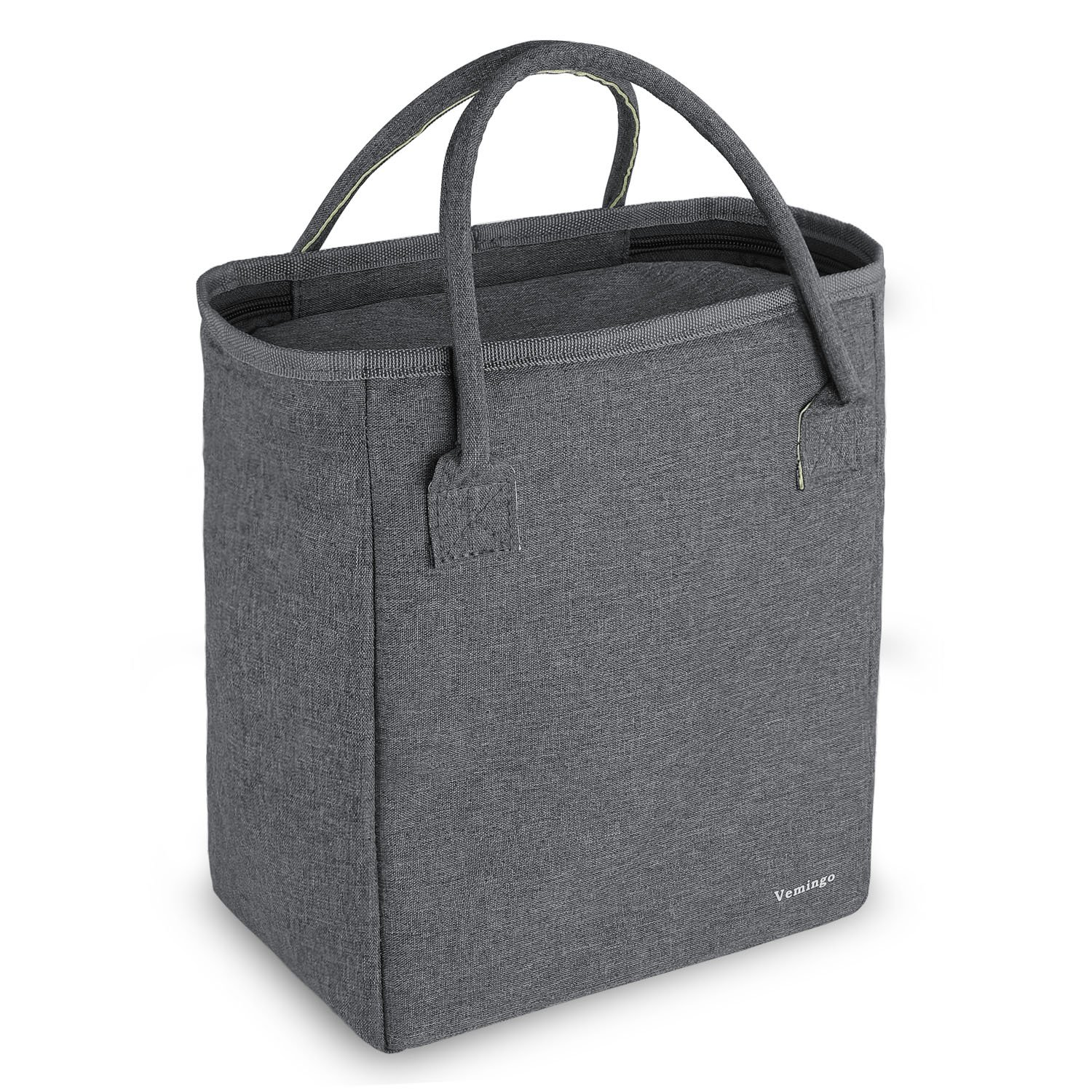 Vemingo Insulated Lunch Bag Cooler Lunch Tote Large Capacity Thermal Lunch Box for Women Men Adults Kids,10.1 x 8.6 x 5.5 IN, Gray