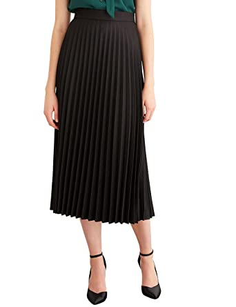 Simple Retro Women's High Waist Basic Pleated A-line Midi Skirt at ...