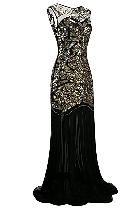 Metme Women\'s 1920s Sequin Vintage Dress Formal Classic Mermaid Long ...