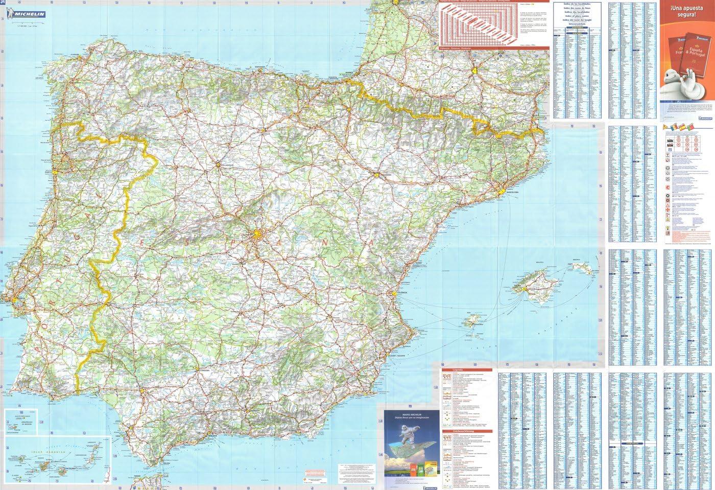 Michelin Mapa Nacional de la pared de España y Portugal: Amazon.es ...