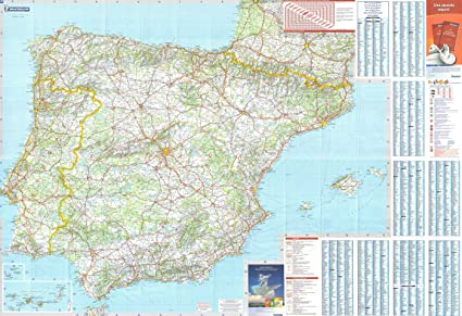 Mapa Michelin De España.Michelin National Wall Map Of Spain Portugal A Encapsulated In Gloss Plastic