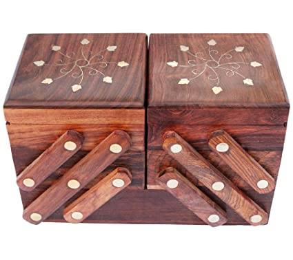 Luxury Solid Indian Wooden Jewelry Box Case - Christmas Gifts For Women |  Girls