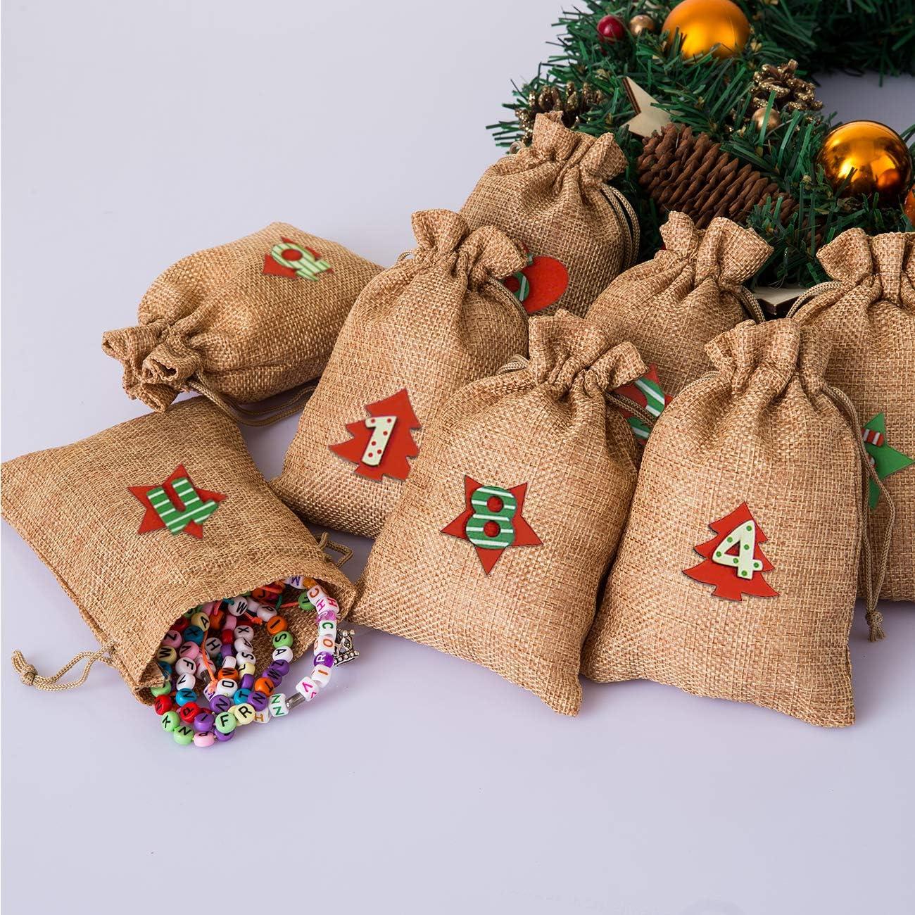 Naler 20 Sacchetti di Lino di Giallo Vintage Sacchetti con Coulisse Borse per Gioielli Regalo di Natale 10 x 14CM