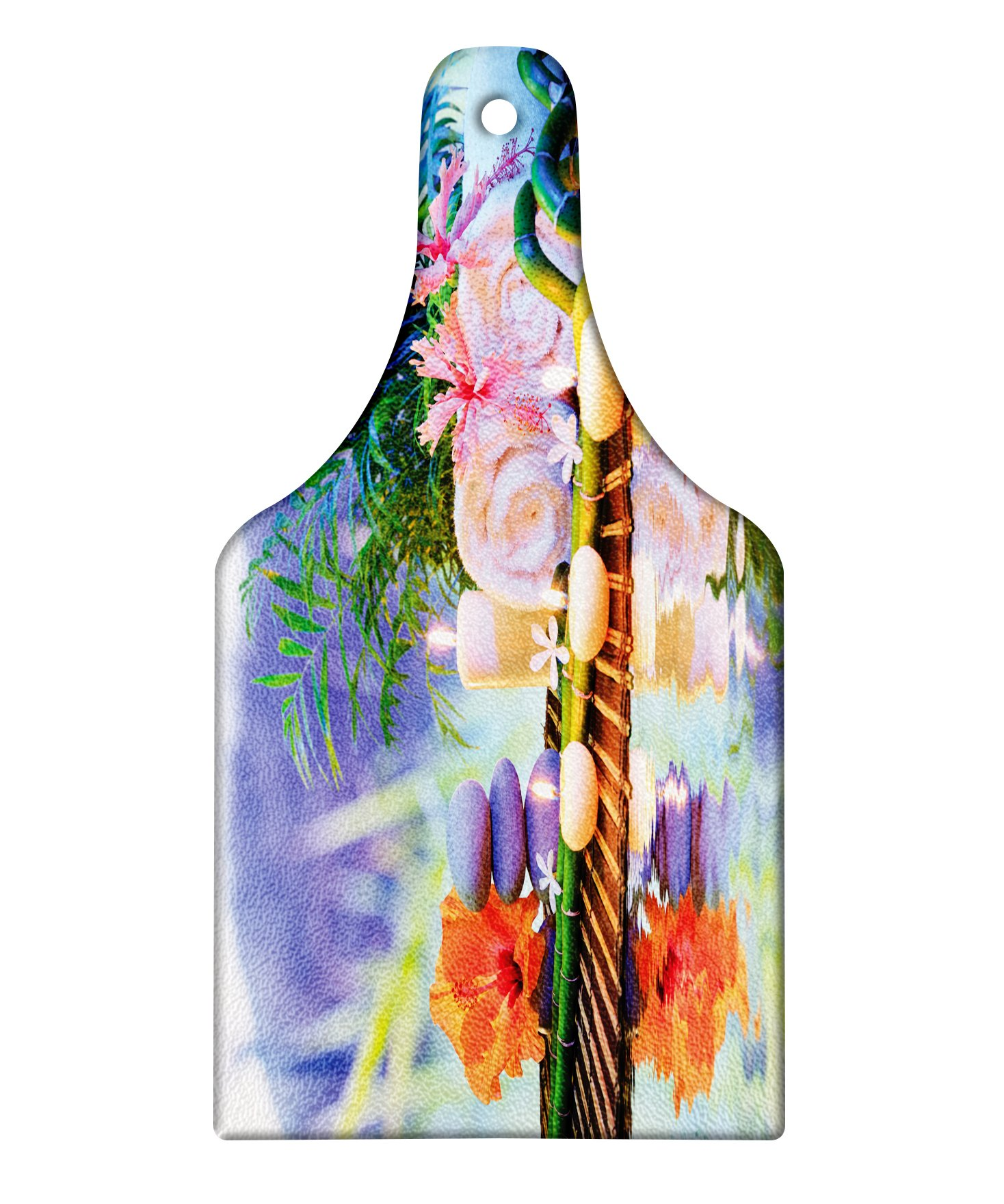 Lunarable Spa Cutting Board, Asian Stones Aromatherapy Relaxation Meditation Zen Nature Bamboo Stems Yoga Concept, Decorative Tempered Glass Cutting and Serving Board, Wine Bottle Shape, Multicolor
