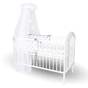Callyna ® - Ciel de lit bébé avec support, voile Blanc taille M. Voile décoratif pour lit bébé. Pompon