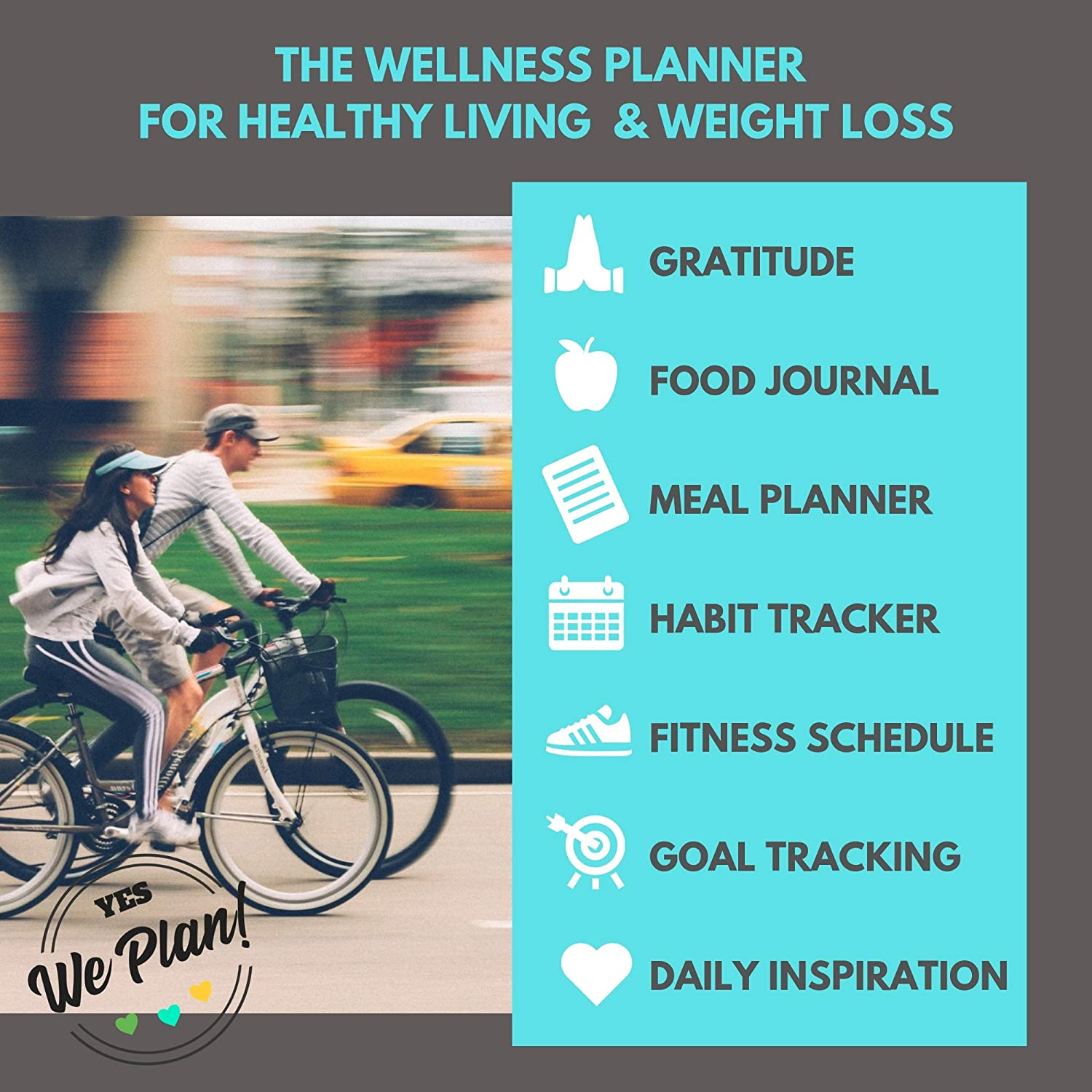 Food Journal & Fitness Diary with Daily Gratitude and Meal Planner for  Healthy Living and Weight Loss Diet