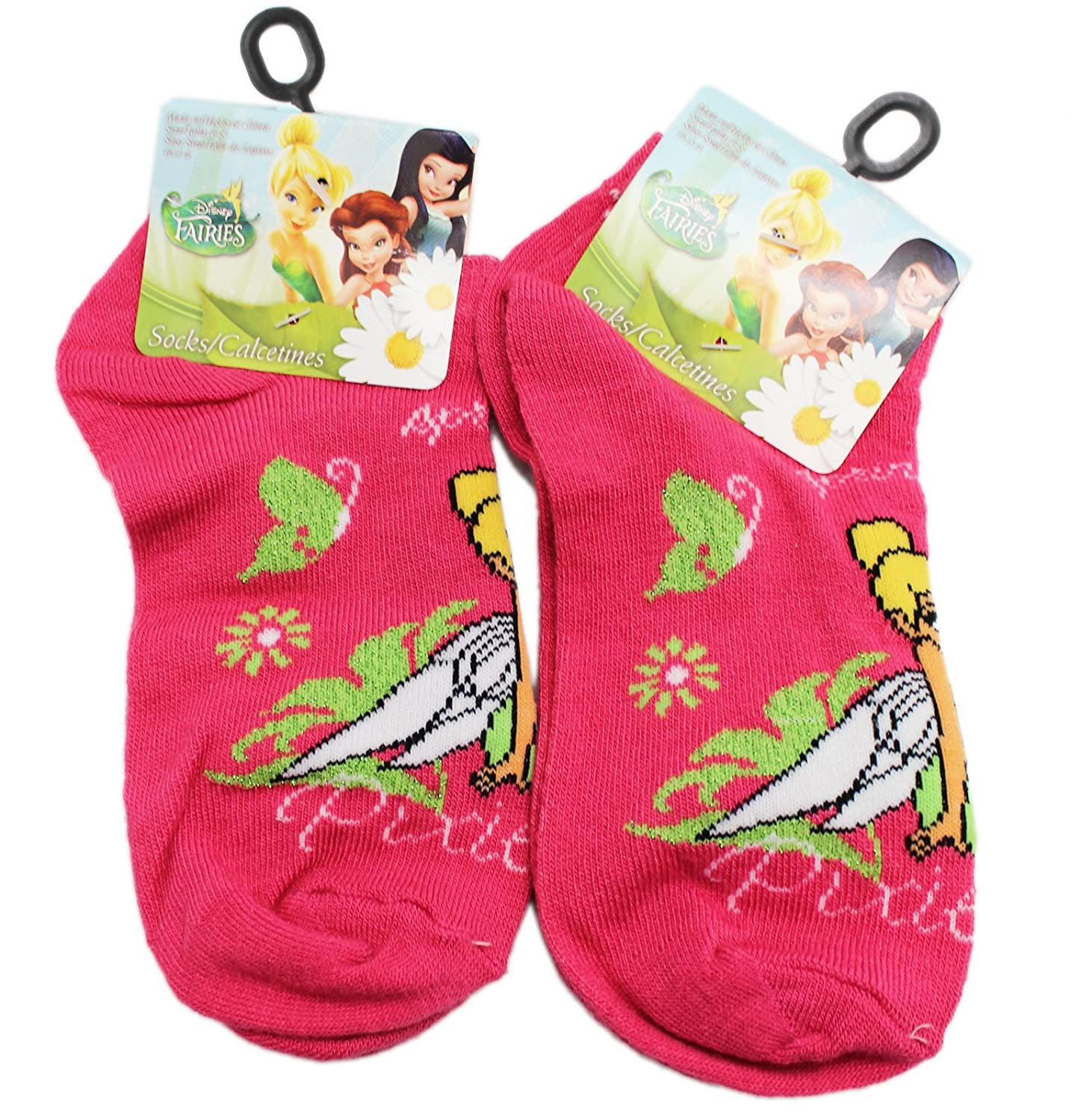 Disneys Tinker Bell Hot Pink Colored Kids Socks 2 Pairs, Size 6-8