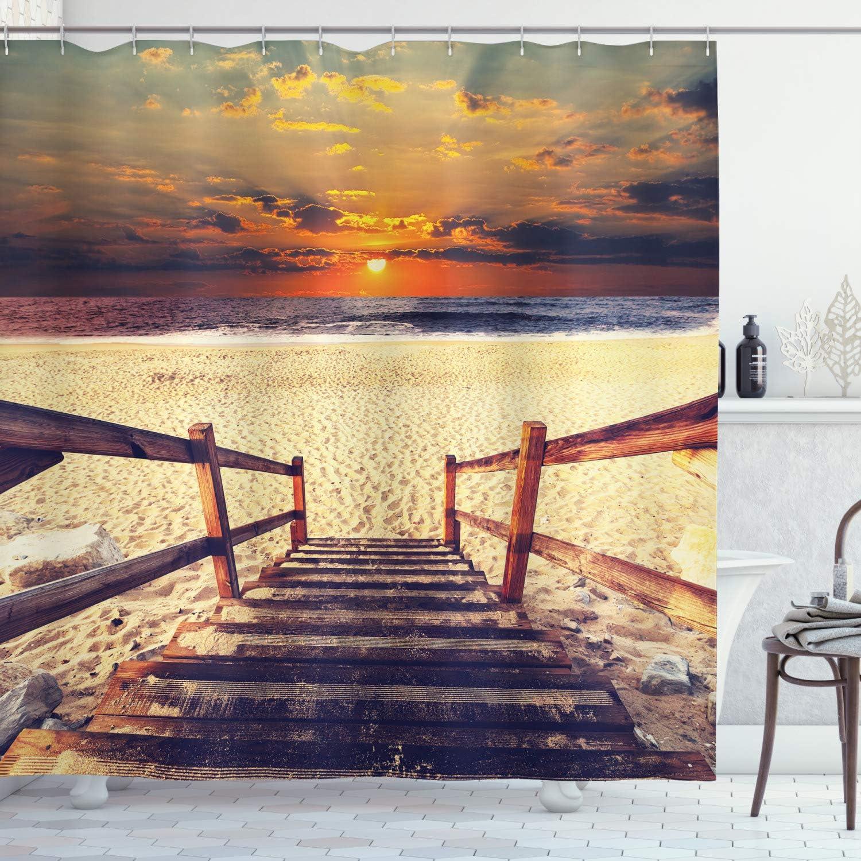 Multicolor Material Resistente al Agua Durable Estampa Digital ABAKUHAUS Conchas Marinas Cortina de Ba/ño Campo Playa Shell 175 x 180 cm