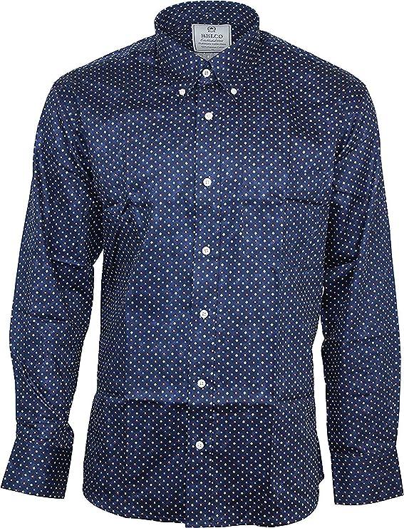 Relco Hombre Multi Diamante Platino Manga Larga con Botones 100% Satén Camisa de Algodón - Azul Marino, S: Amazon.es: Ropa y accesorios