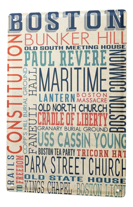Cartel Letrero de Chapa Deco Ciudad Boston: Amazon.es: Hogar