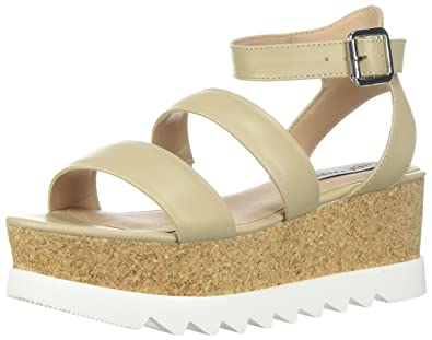 e9e4101e816 Steve Madden Women's Kirsten Platform Sandal, Natural Leather, 5 M