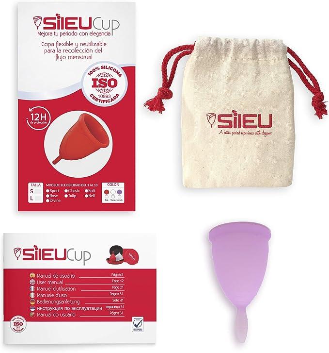 Copa Menstrual Sileu Cup Classic - Alternativa ecológica y natural a tampones y compresas - Bolsa de regalo - Talla L, Morado