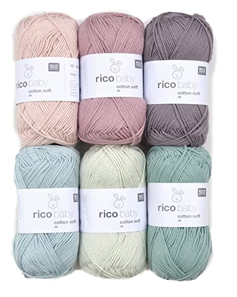Rico Baby Wolle.Woll Set Babywolle Rico Baby Cotton Soft Dk 6x50g 46 Baumwollmischgarn Weiche Wolle Zum Stricken Und Hakeln
