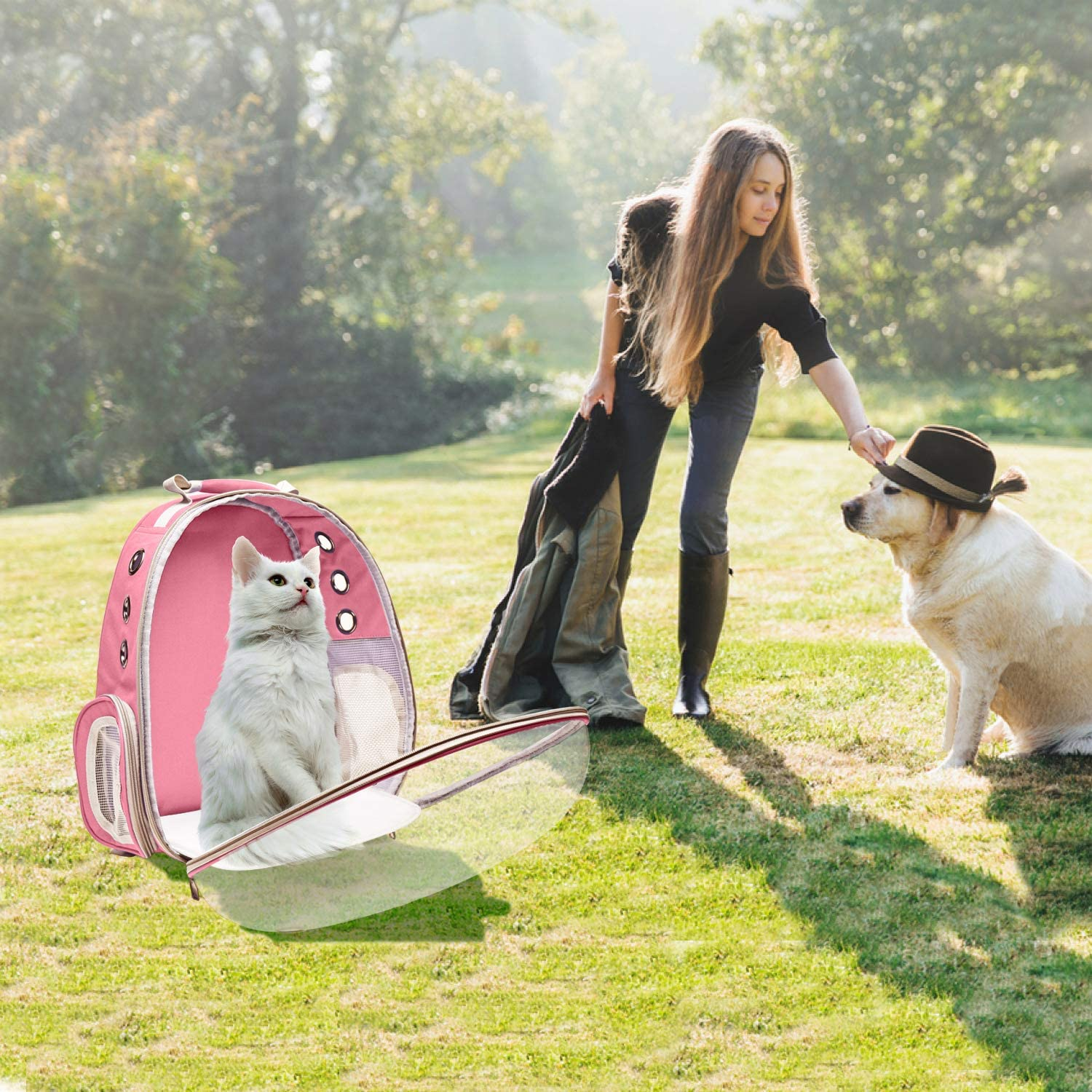 Henkelion Dog Carrier Backpack Front Pack Pet Carrier Back Pack for Small Medium Cat Puppy Doggie Dog Body Carrying Bag Travel Space Capsule Knapsack