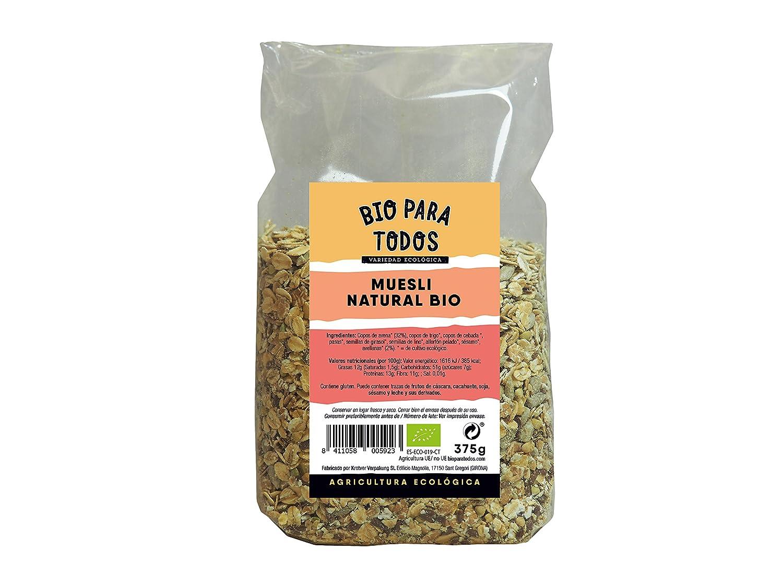 Bio para todos Muesli Natural Bio - 12 Paquetes de 375 gr - Total: 4500 gr: Amazon.es: Alimentación y bebidas
