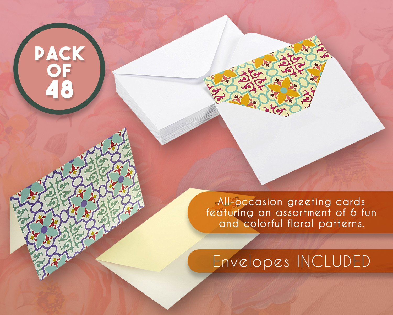 48 Pack All Occasion Assorted Blank Vintage Note Cards For Her