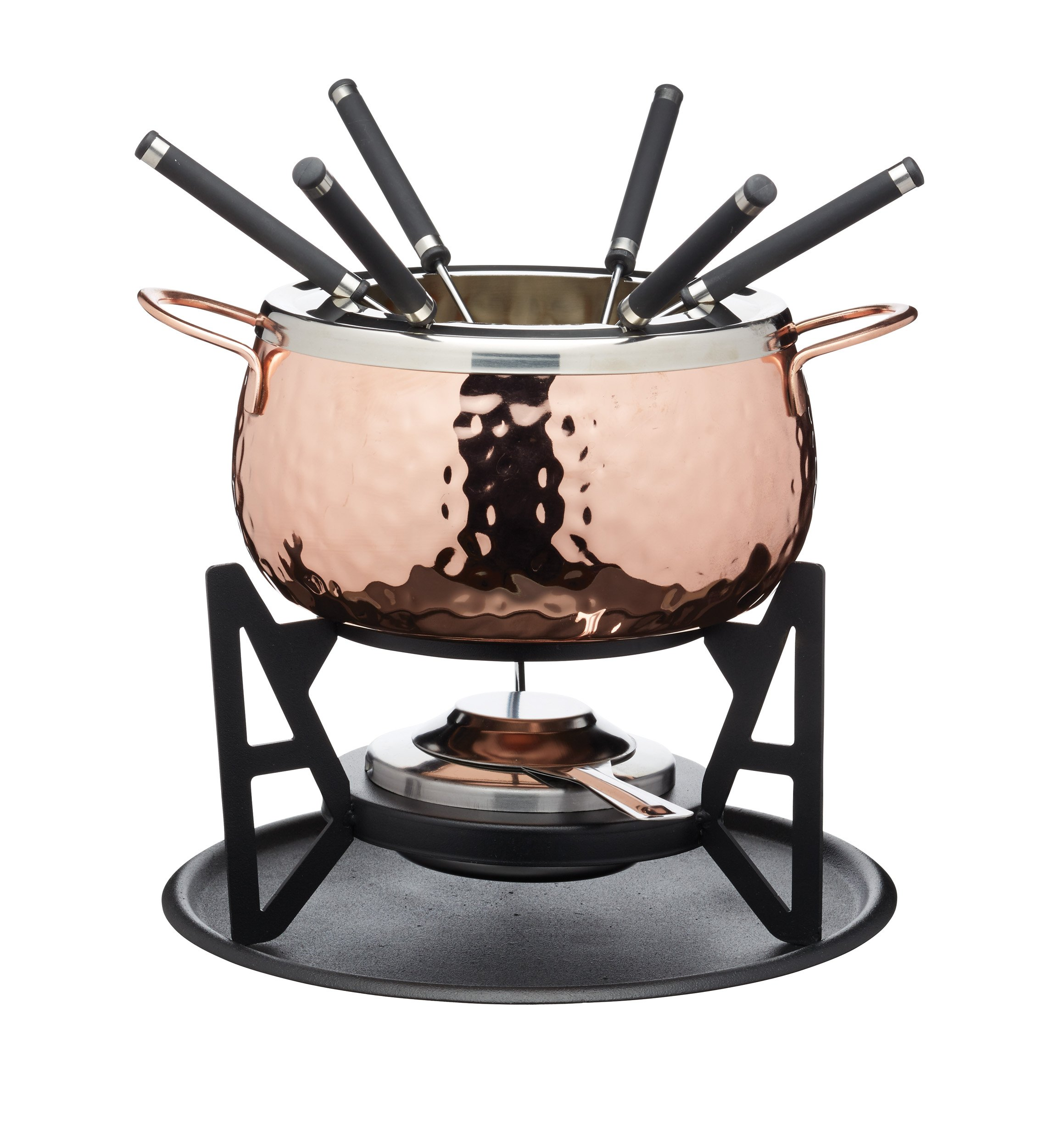 KitchenCraft Artesà Luxury 6-Person Swiss Fondue Set, Stainless Steel, Gift Box, Hammered Copper Finish by Artesa