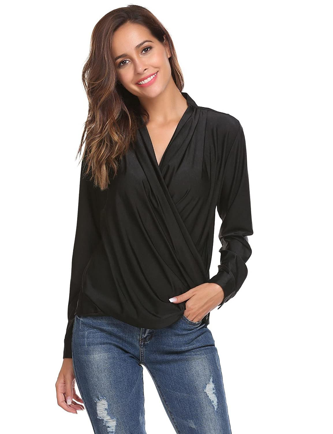 c9d644e60b2825 Zeagoo Women's Sexy Deep V-Neck Blouse Pleated Wrap Front Surplice Club  Wear Top at Amazon Women's Clothing store: