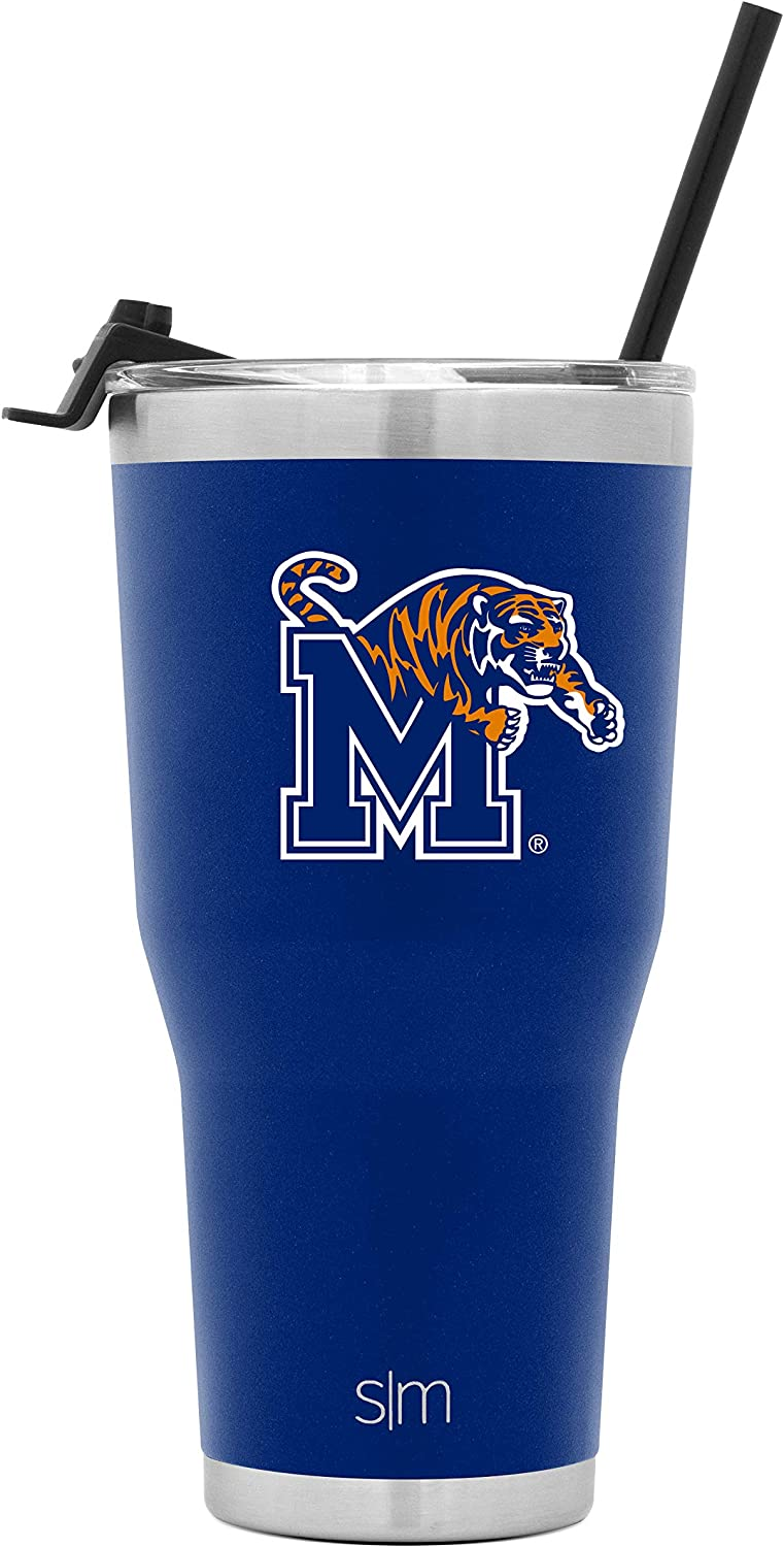 Simple Modern 30oz Cruiser Tumbler with Clear Flip Lid - Coffee Travel Tumbler Stainless Steel - Gifts for Men Women Dads: Memphis Tigers (NCAA Drinkware)