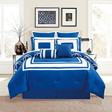KingLinen 12 Piece Bernard Navy Comforter Set with Sheets Queen