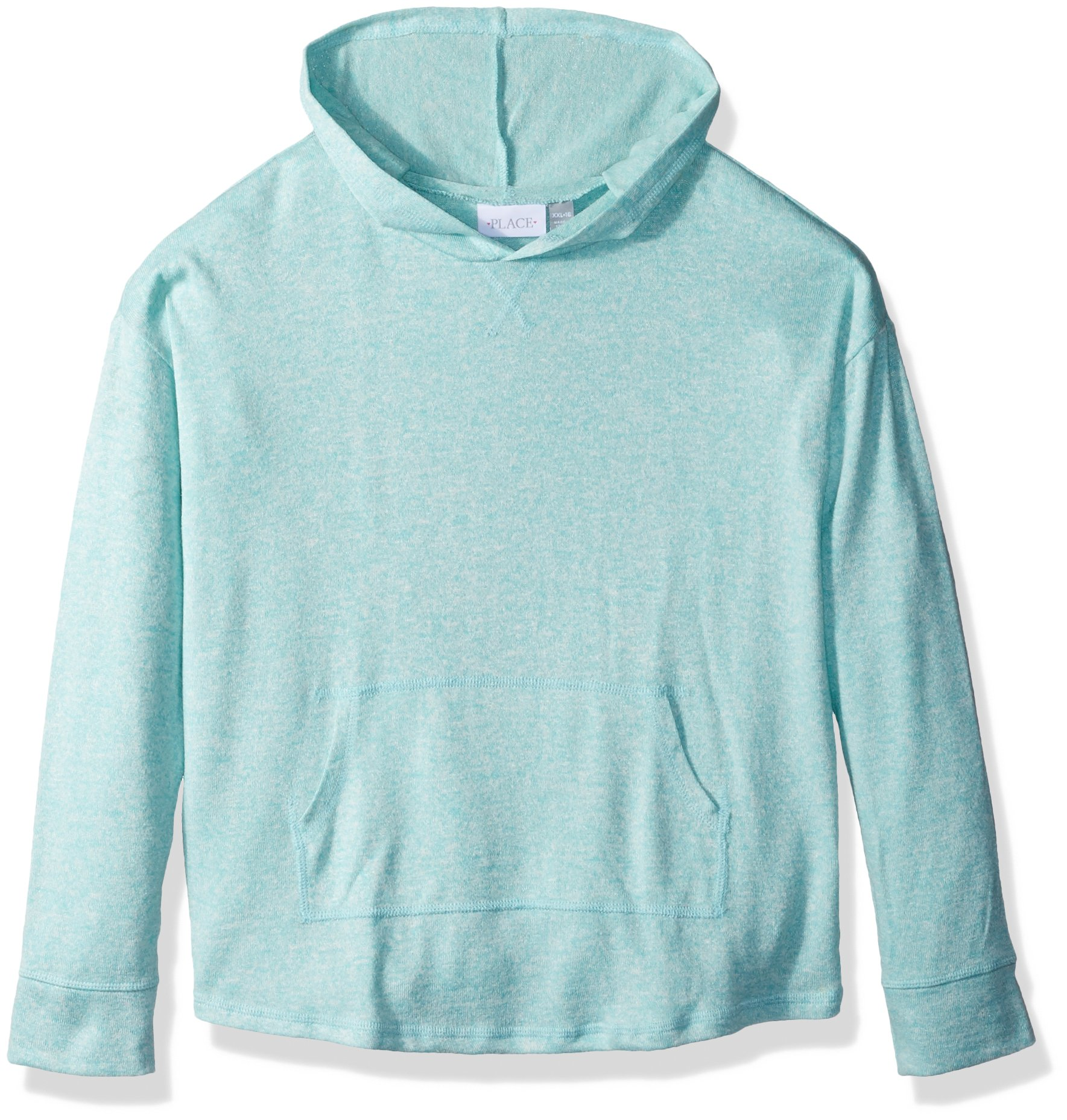 The Children's Place Big Girls' Pullover Solid Hoodie, Mellow Aqua 86305, S (5/6)