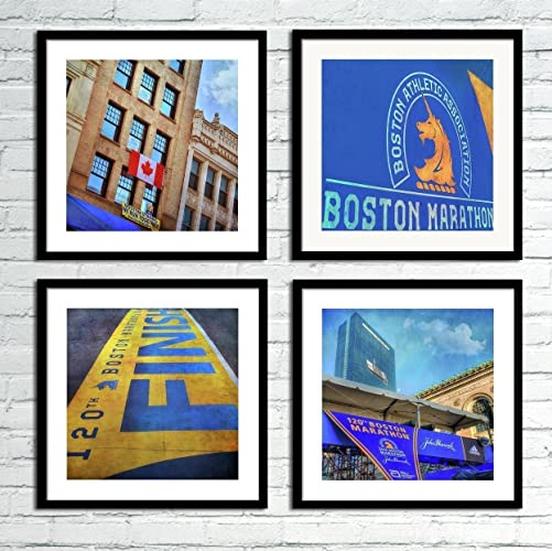 Boston Marathon Print Set Of 4   Sports Print Set   Boston Wall Art   Set