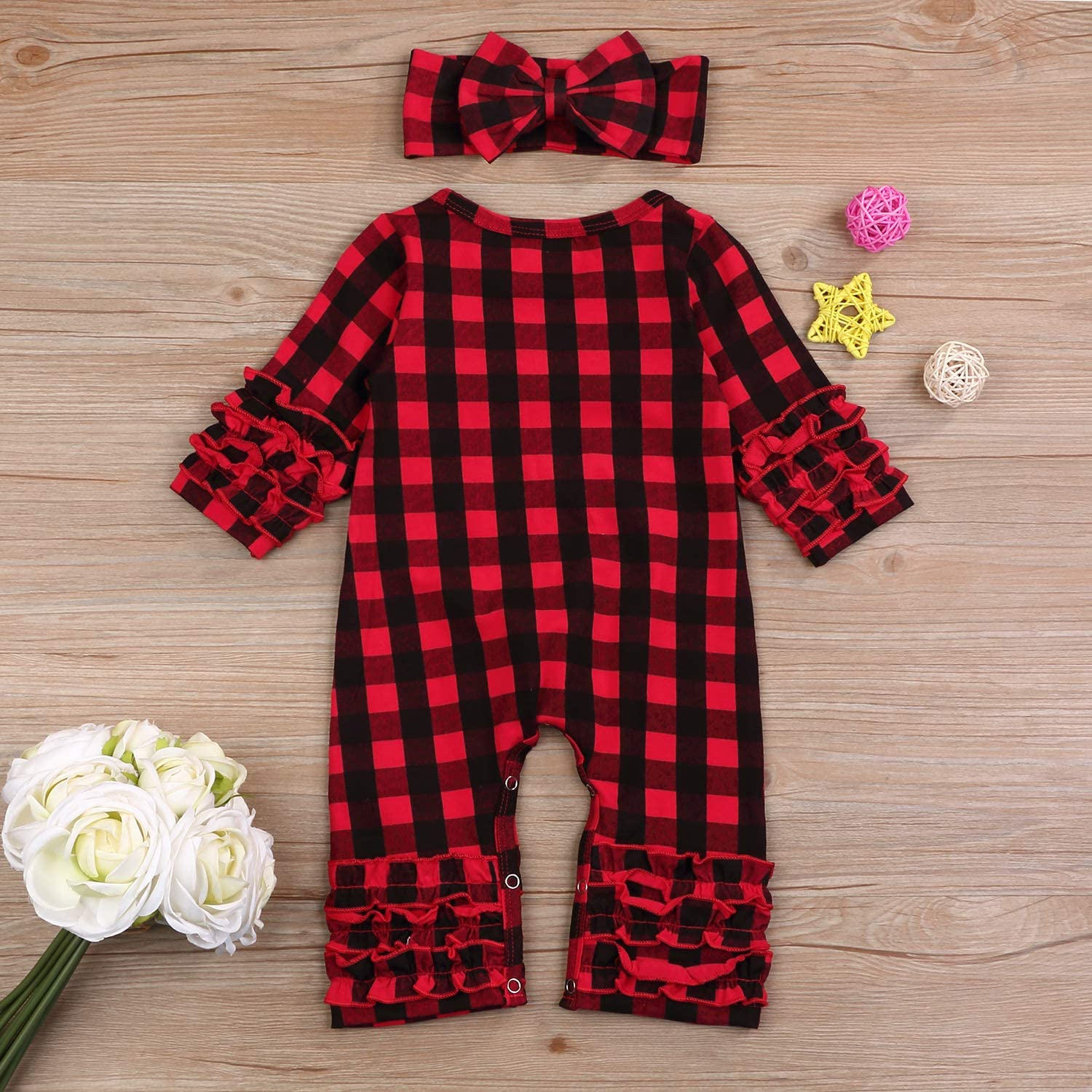 Newborn Baby Girls Fold Ruffle Jumpsuit Infant Solid Romper Long Sleeve Pajamas Set Coming Home Outfits+Headband