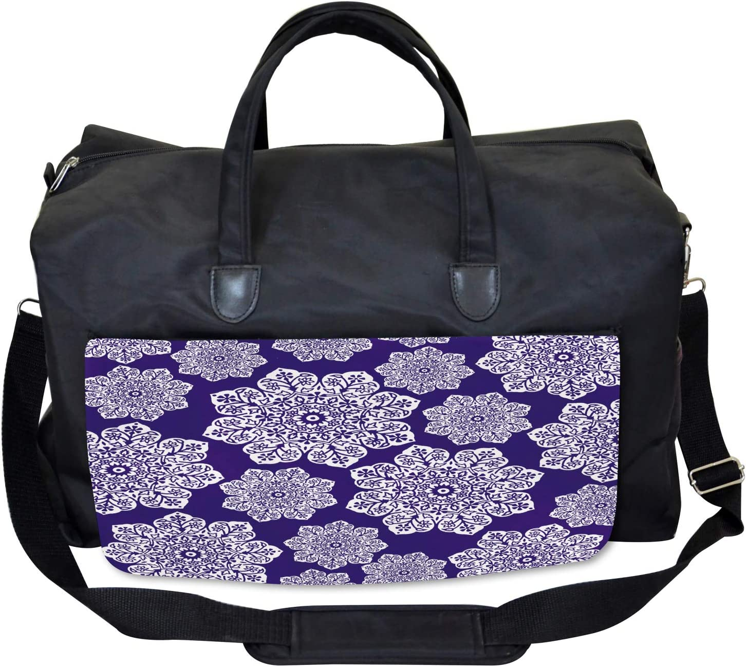 Ambesonne Blue White Gym Bag Flora Lace Snowflake Large Weekender Carry-on