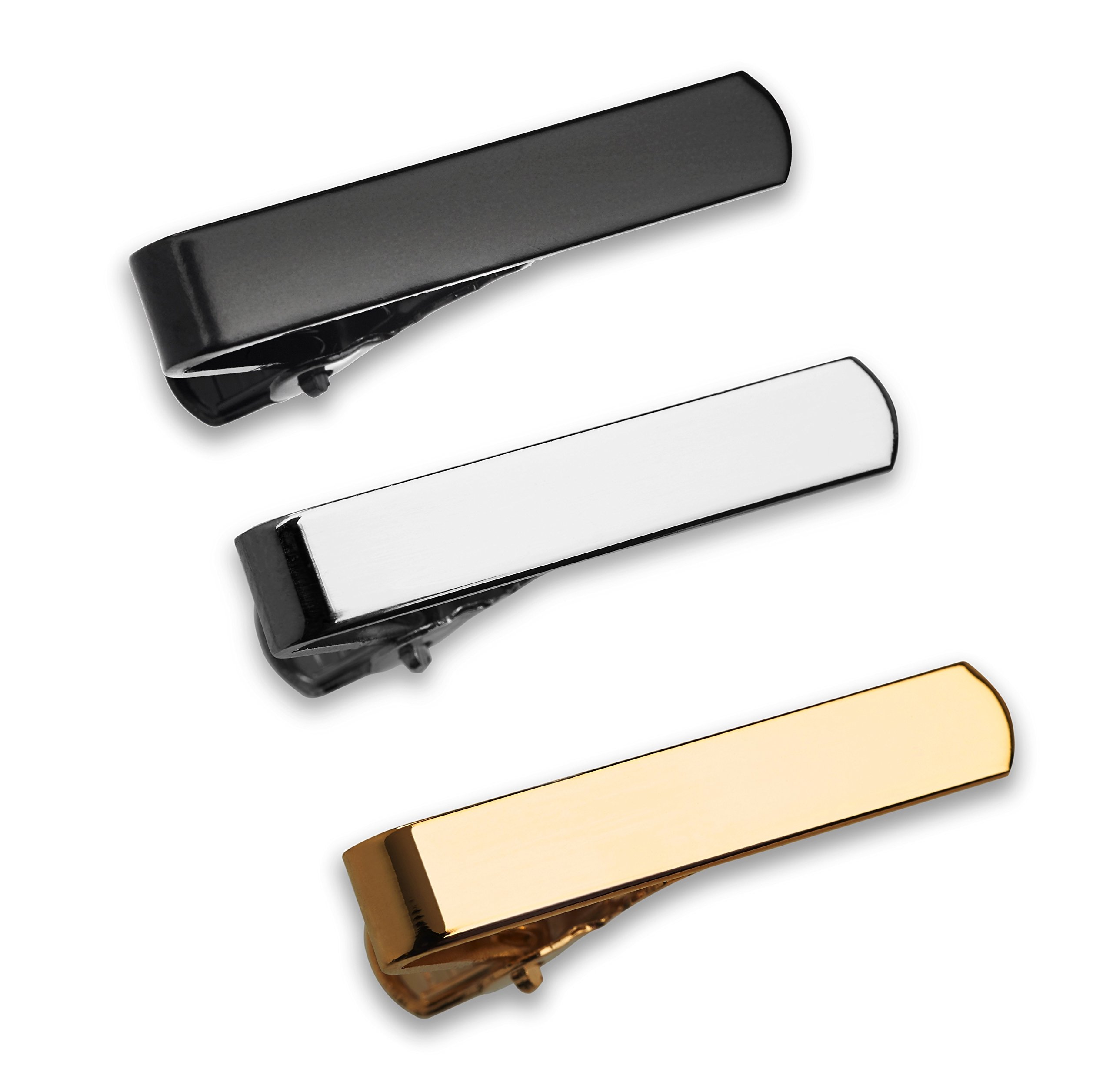 GQ The 3 Pc Tie Bar Set Pinch Clasp 1.1 Inch for Trendy Skinny Ties, Silver, Gold Tone and Black Gift Boxed