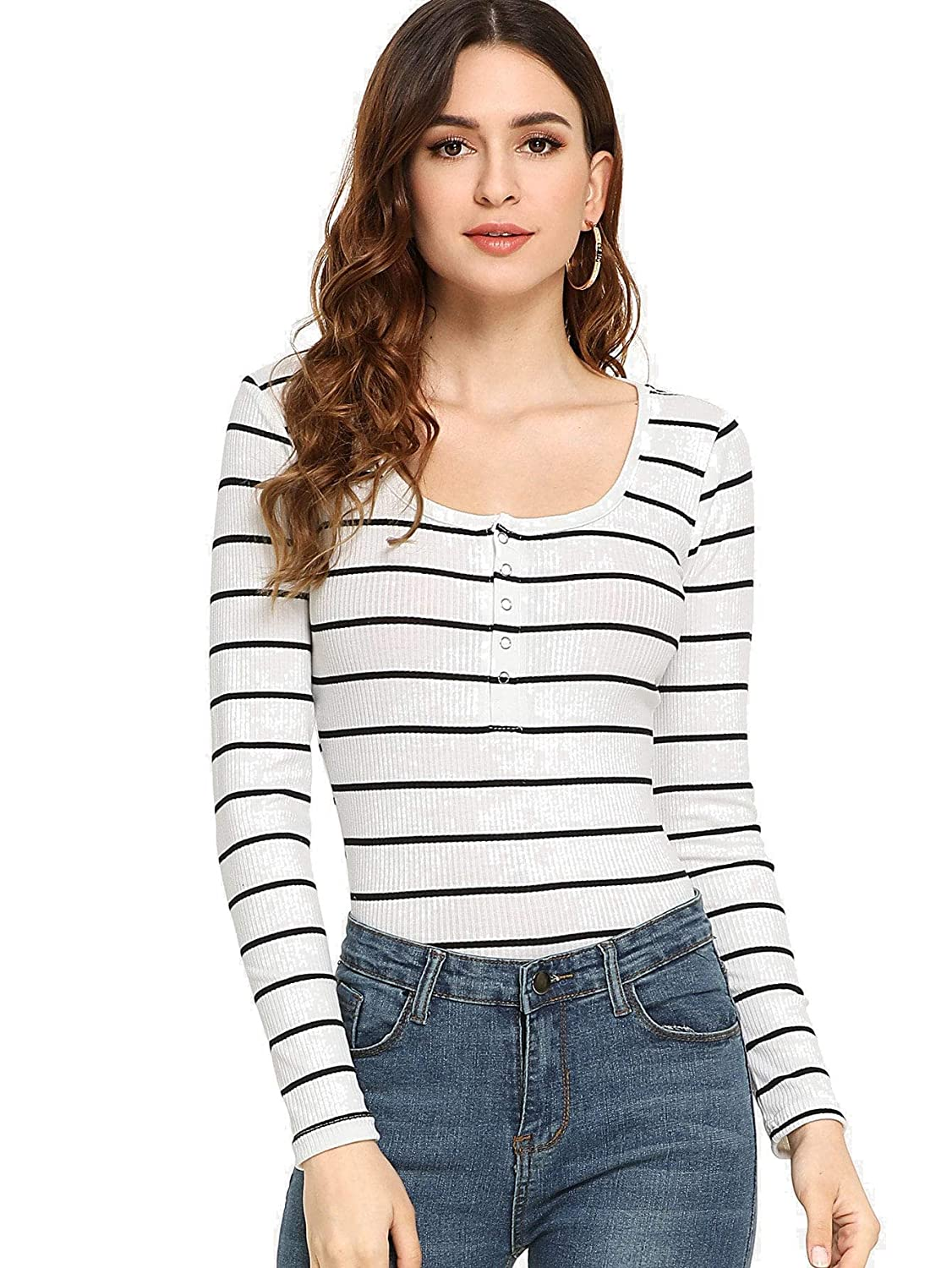 Bmulti3 Milumia Women's Casual Striped Ribbed Tee Knit Crop Top