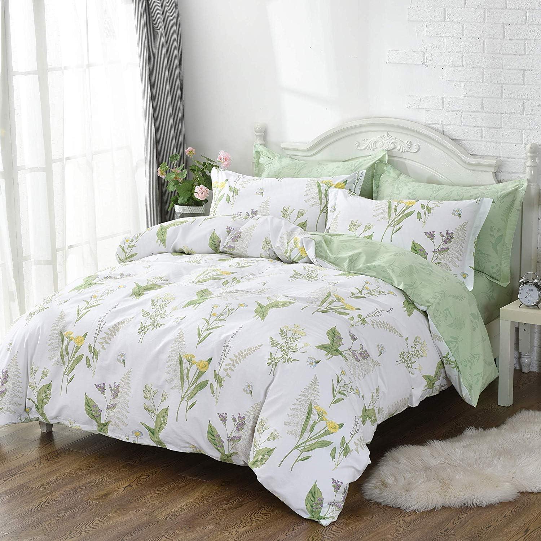 FADFAY Dorm Bedding Set Twin XL Collection Premium 100% Cotton Green Floral College Room 5 Piece: 1 Duvet Cover
