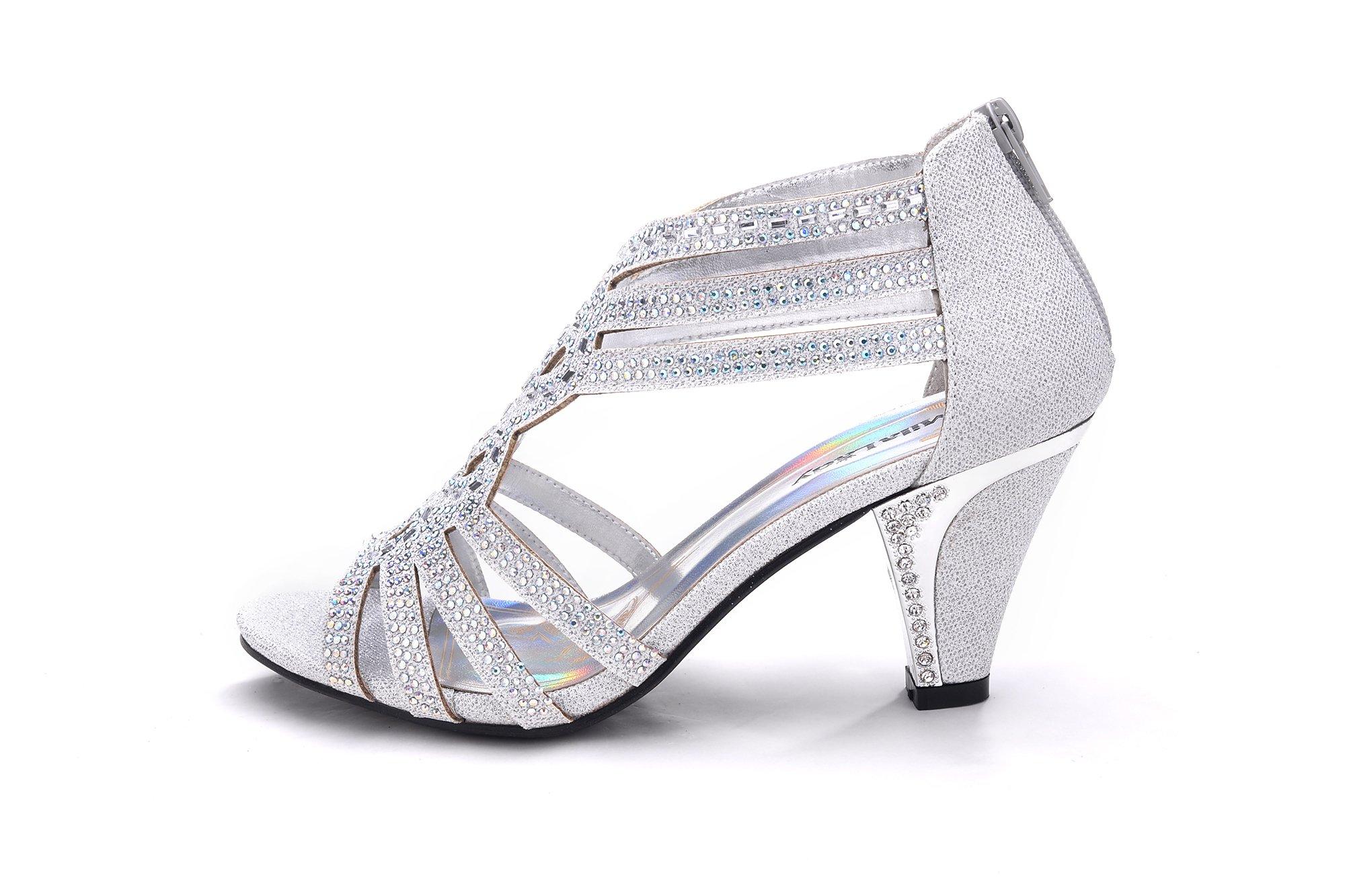 d979ecf20 Mila Lady Women's (kimi25) Lexie Crystal Dress Sandals, Silver 9 ...