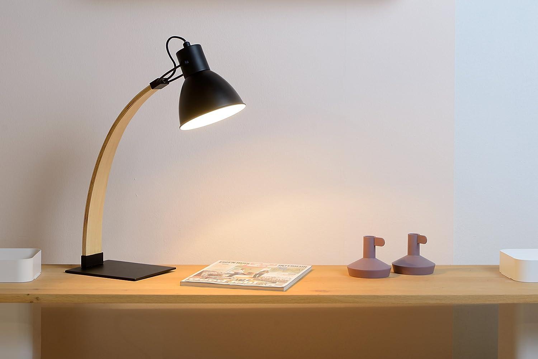 Lucide curf – escritorio Lámpara de escritorio – – negro, madera, negro, E27 60 wattsW 230 voltsV e0573c