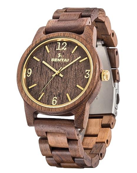 Reloj de pulsera de madera Sentai Reloj de madera para hombre Relojes de cuarzo vintage hechos