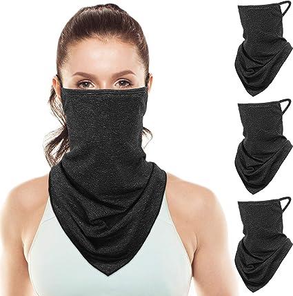 Face Scarf Bandanas Ear Loops with Filter Men Women Neck Gaiter Cover Balaclava