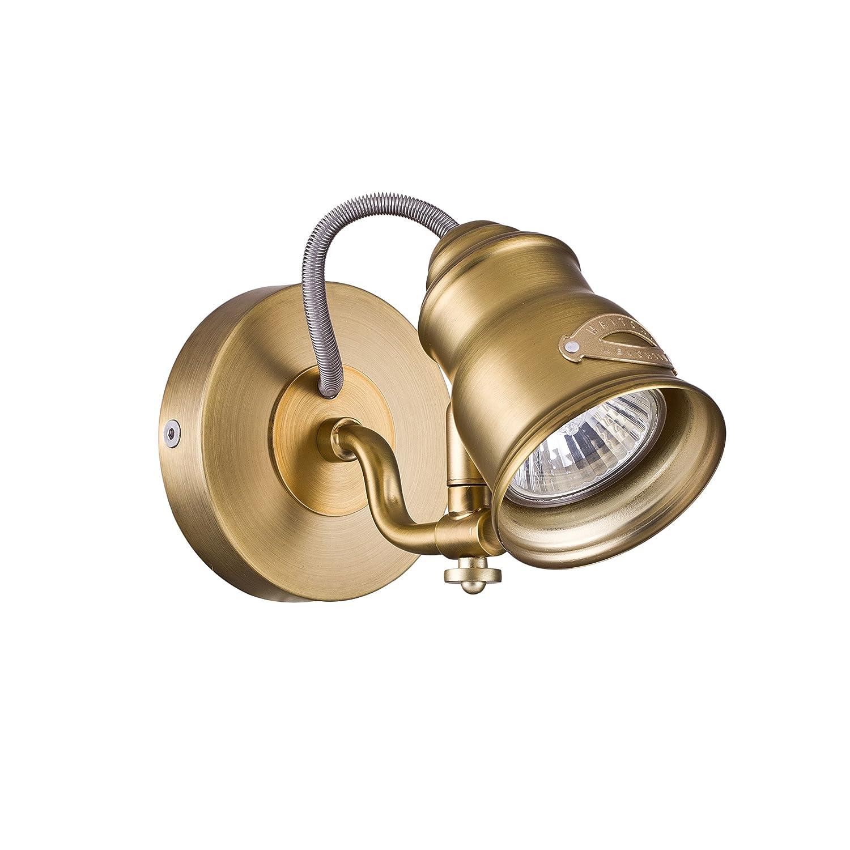 le Bureau plafonnier en metal couleur laiton 1x GU10 50 W 220V pour le Salon la Salle de Bain 1 ampoule Applique Murale 1 Spot Style Moderne excl Armature en M/étal coleur laiton