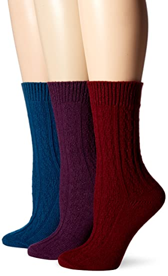 7d6e5bc198e Muk Luks Women s 3 Pair Pack Cable Boot Socks