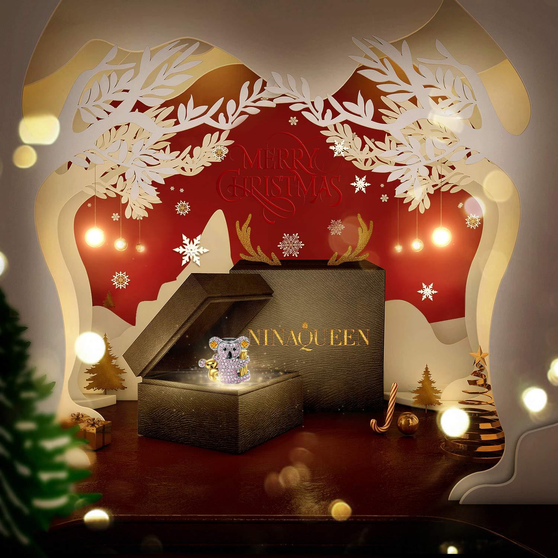Zircone NINAQUEEN/® Charm et Perles Koala Cadeaux de No/ël Parfaits! avec Boite Cadeau Je ne Veux Pas pour d/éplacer Argent Sterling 925