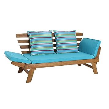 greemotion Banc en bois extérieur Borkum – Canapé modulable en bain de  soleil – Banc extérieur en bois d\'acacia – Chaise longue de jardin – Bain  de ...