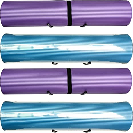 YYST Yoga Mat Foam Rollers Wall Rack Wall Storage Mount Wall Holder Storage Shelf for Foam Rollers and Yoga Mat, Up to 8 Inch Diameter - No Mat -4/PK
