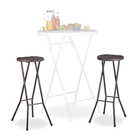 Relaxdays Bastian Plegable taburetes de Bar (2 Unidades, Impermeable, 80 cm de Altura, Desayuno Silla Doble Asiento Unidades, plástico, Contador, ...