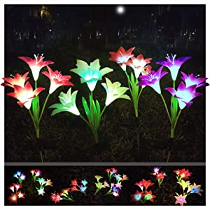 TOLYPPLG Solar Flower Light Outdoor,Color Glow Lights,Garden Stake Lights Waterproof Decorative,4 Pack with 16 Bright Lilies Solar Flowers for Garden, Patio, Yard Pathway, Cemetery