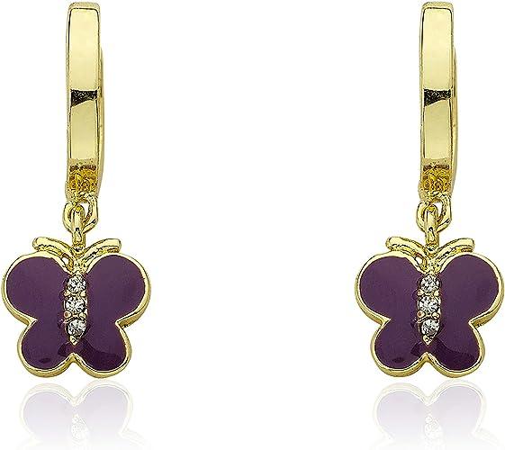 Hypoallergenic and Nickel Free For Sensitive Ears Little Miss Twin Stars Kids Earrings 14k Gold Plated Enamel Heart Leverback Earrings