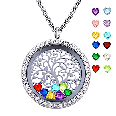 Youfeng jewellery family tree of life locket necklace floating youfeng jewellery family tree of life locket necklace floating living memory pendant necklace 12 birthstones charms aloadofball Gallery