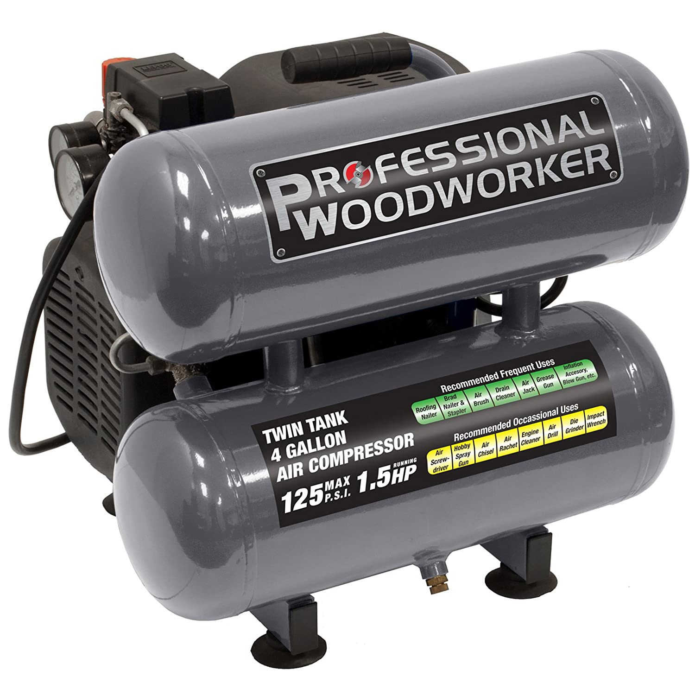 Amazon Com Professional Woodworker 9526 4 Gallon Twin Stack Air Compressor Home Improvement
