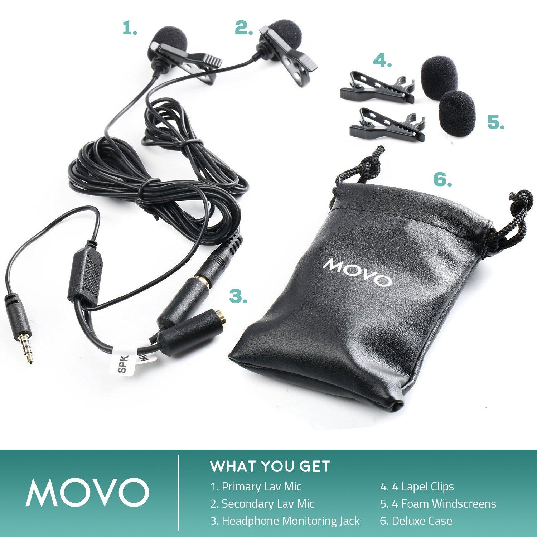 microfono secondario e ingresso per monitoraggio in cuffia iPad smartphone//tablet Android con clip Samsung Movo Executive microfono lavalier per interviste per Apple iPhone